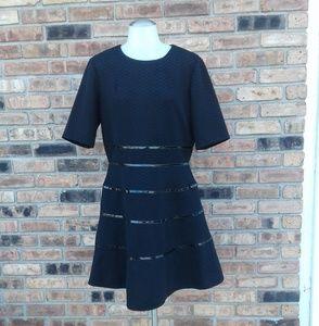 Just Taylor Black Dress w/Faux Leather Trim Sz 12